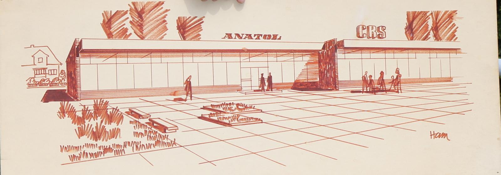 """Projekt pawilonu """"Anatol"""" [rys. Andrzej Hamada]"""
