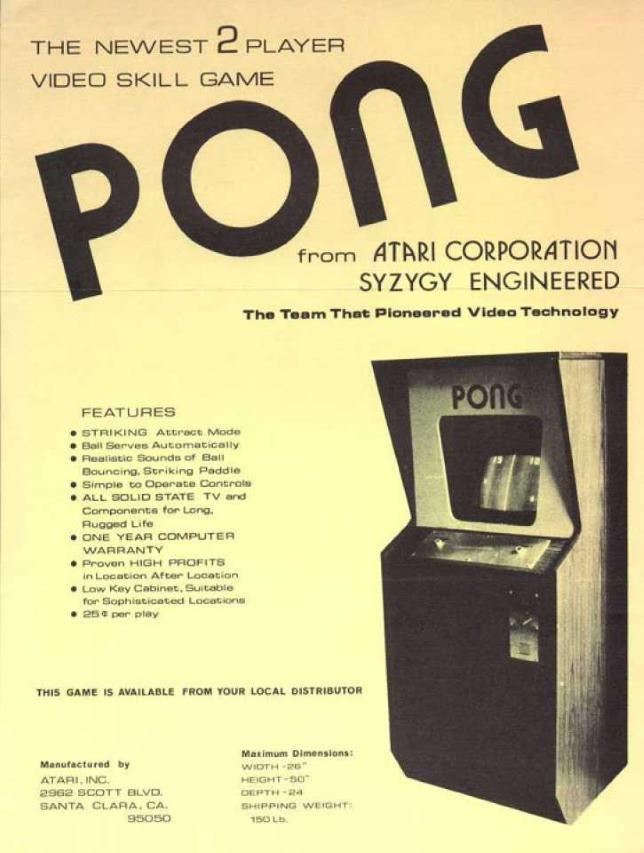 Broszura automatu z grą PONG