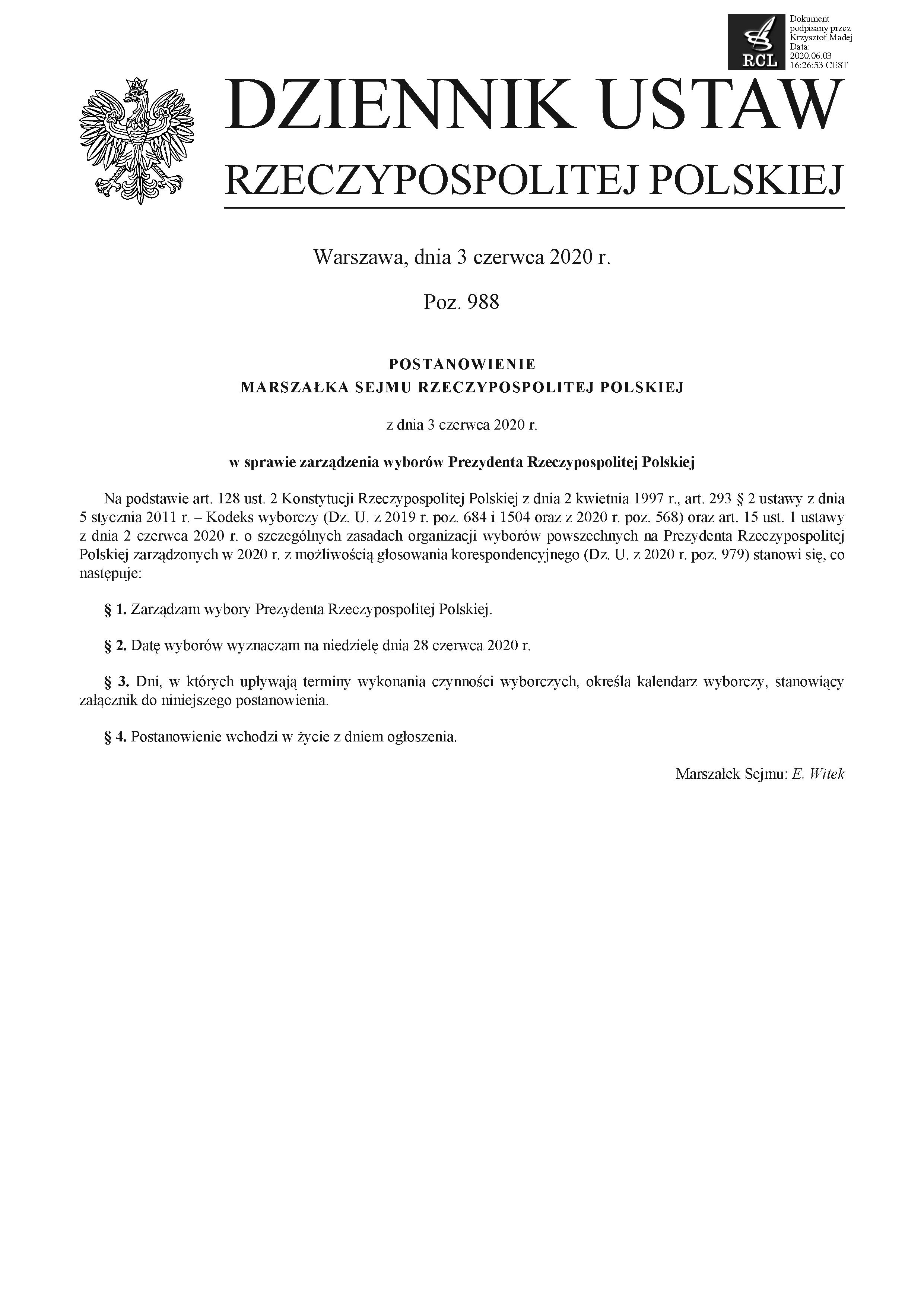 Postanowienie Marszałka Sejmu RP w sprawie zarządzenia wyborów Prezydenta Rzeczypospolitej Polskiej strona 1