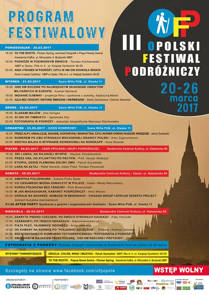 III Opolski Festiwal Podróżniczy potrwa od poniedziałku (20.03) do niedzieli (26.03) [fot. materiały organizatora]