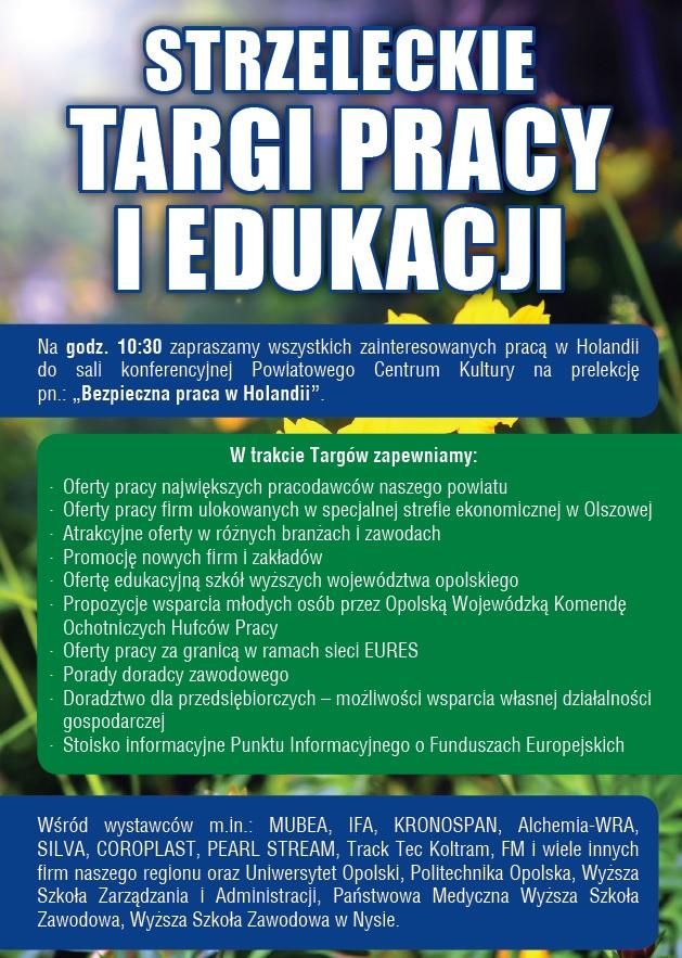Szukasz pracy, chcesz ją zmienić lub podnieść swoje kwalifikacje? Strzeleckie Targi Pracy i Edukacji w czwartek (20.04) do 13:00!