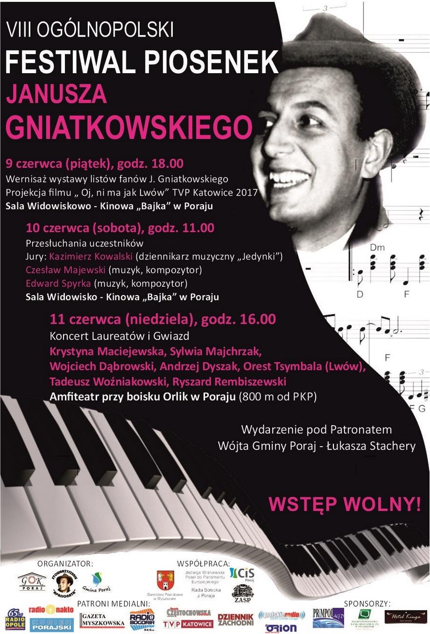 Plakat VIII Ogólnopolski Festiwal Piosenek Janusza Gniatkowskiego [materiały organizatora]