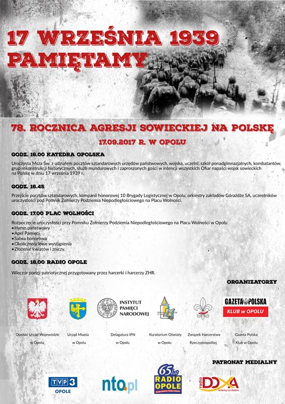Opole uczci ofiary agresji wojsk sowieckich na Polskę