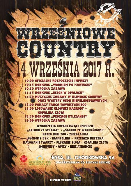 Zobacz program 'Wrześniowego country', ktore już w czwartek (14.09) odbędzie się w Nysie