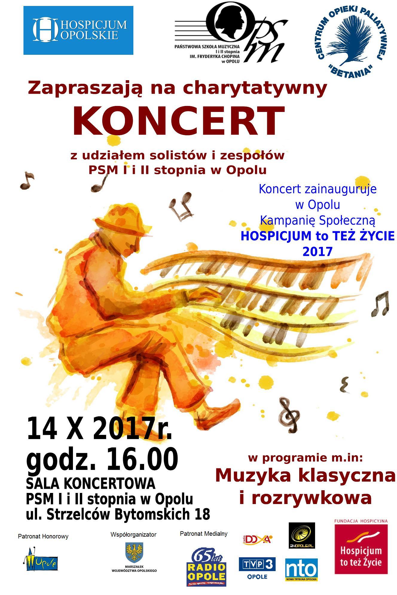 """Kampanię 'Hospicjum to też życie"""" zainauguruje w sobotę koncert w PSM w Opolu"""