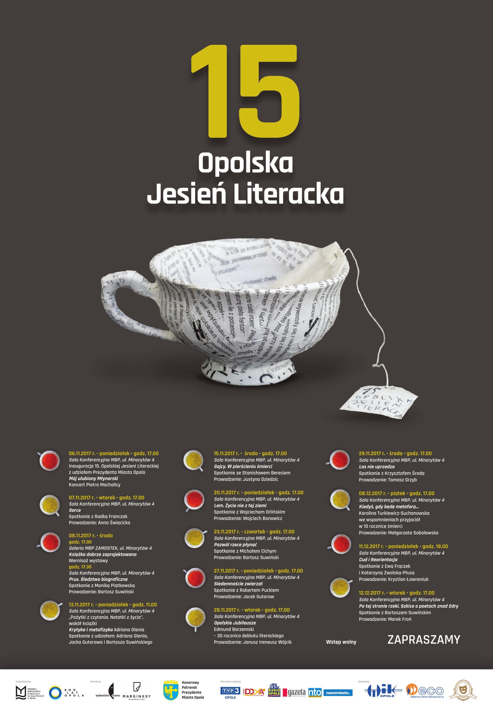 15 Opolska Jesień Literacka w MBP w Opolu potrwa od 6 listopada do 12 grudnia