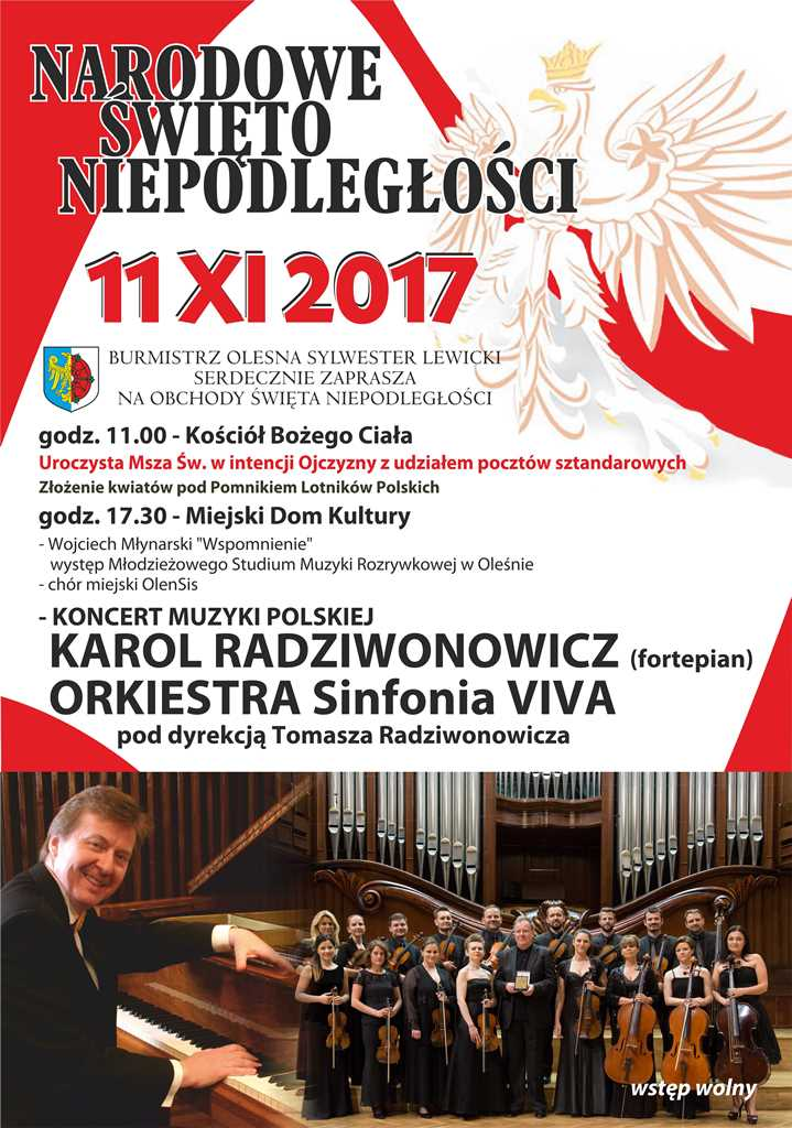 Olesno koncertem uczci Narodowe Święto Niepodległości