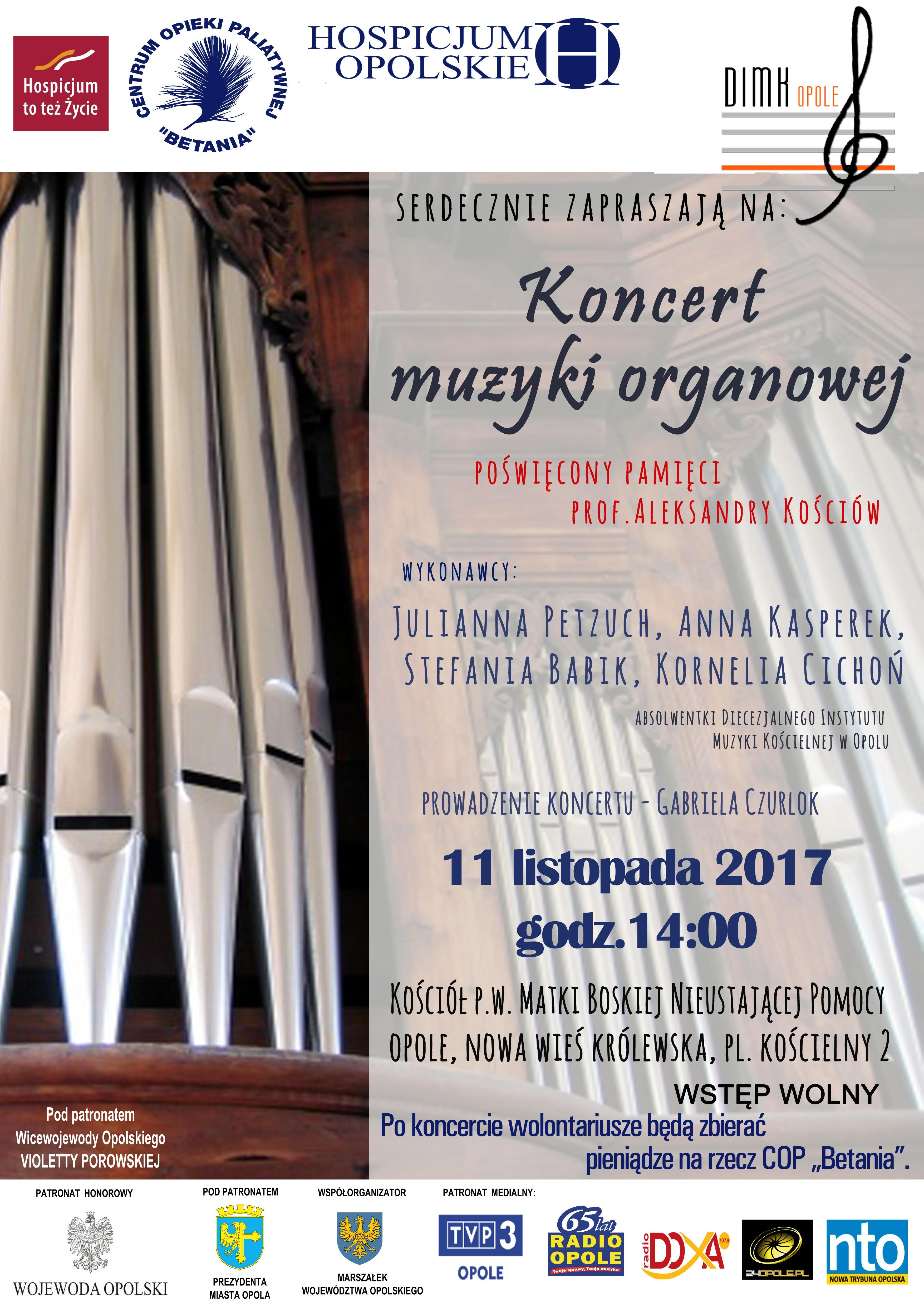 Koncert organowy w sobotę (11.11) jednym z wydarzeń trwającej w Opolu kampanii społecznej 'Hospicjum to też życie'