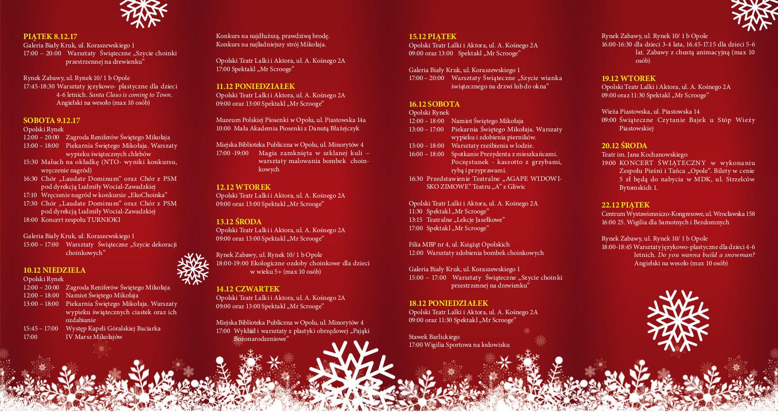 Program Jarmarku Bożonarodzeniowego 2017 i wydarzeń świątecznych w Opolu [materiały organizatora]
