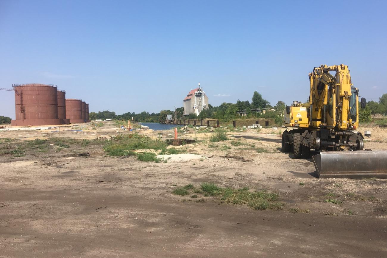 Wstrzymanie prac przy budowie portu w Koźlu [fot. Agnieszka Pospiszyl]