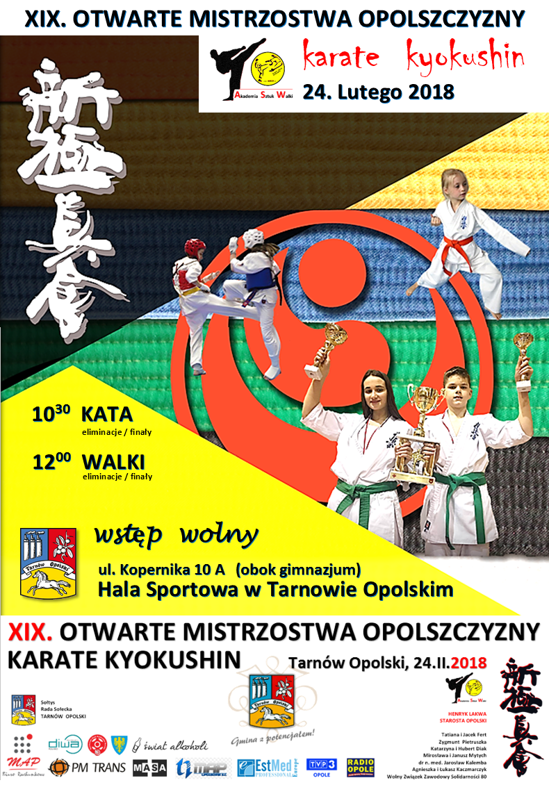 XIX Otwarte Mistrzostwa Opolszczyzny Karate Kyokushin odbędą się 24 lutego na Hali Sportowej w Tarnowie Opolskim