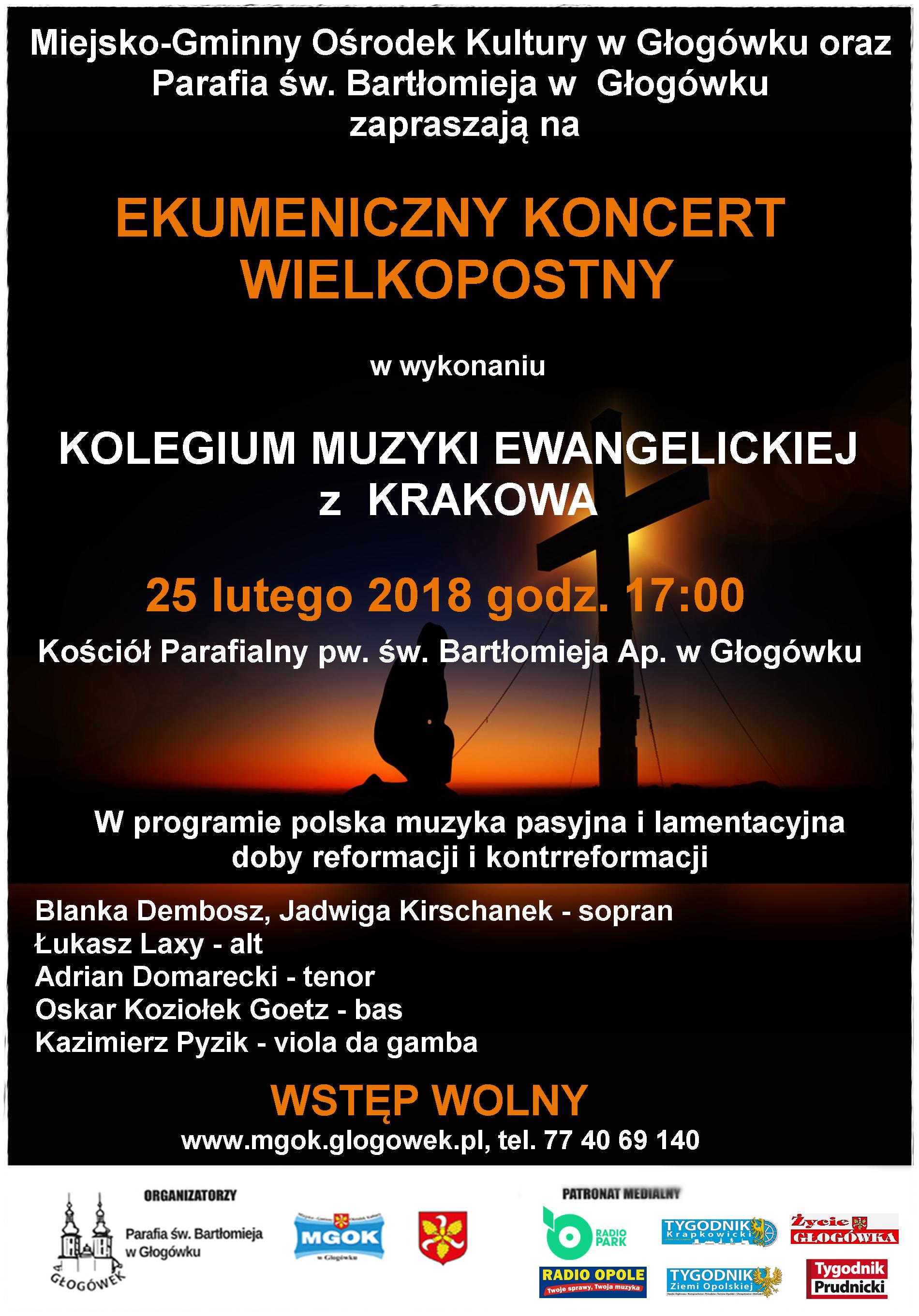 Plakat Ekumenicznego Koncertu Wielkopostnego w Głogówku [materiały organizatora]
