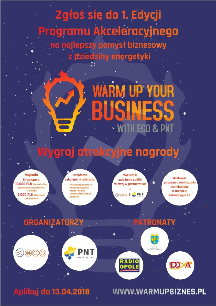 "Plakat konkursu ""Warm up Your Business with ECO & PNT"" [materiały organizatora]"