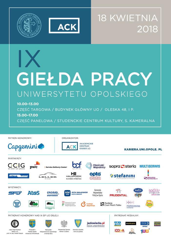 IX Giełda Pracy Uniwersytetu Opolskiego [materiały organizatora]