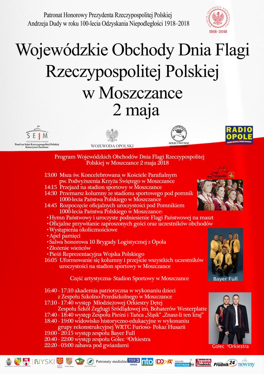 Program Wojewódzkich Obchodów Dnia Flagi Rzeczypospolitej Polskiej w Moszczance 2 maja 2018 [materiały organizatora]