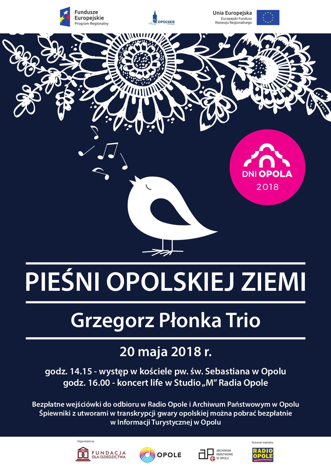 Pieśni opolskiej ziemi zabrzmią w Studiu M, czyli koncert Grzegorz Płonka Trio - transmisja po 16:00