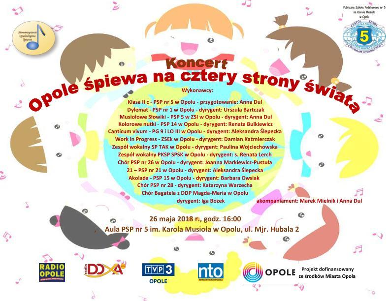 """26 maja zapraszamy na koncert - """"Opole śpiewa na cztery strony świata"""" w auli szkoły"""