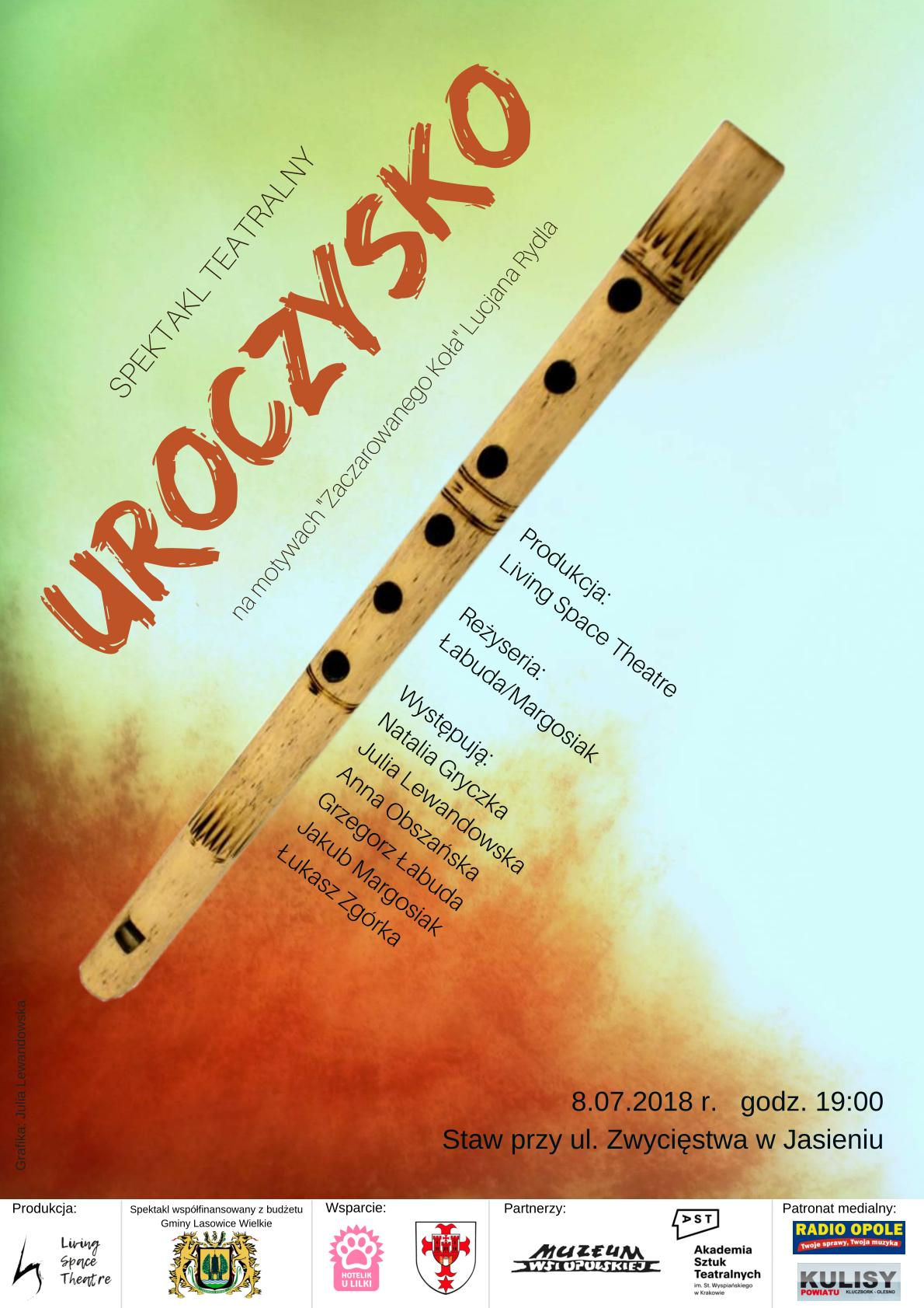 Przedpremierowy pokaz spektaklu 'Uroczysko' odbędzie się 8 lipca w Jasieniu wokół stawu przy ul. Zwycięstwa. Wstęp wolny!