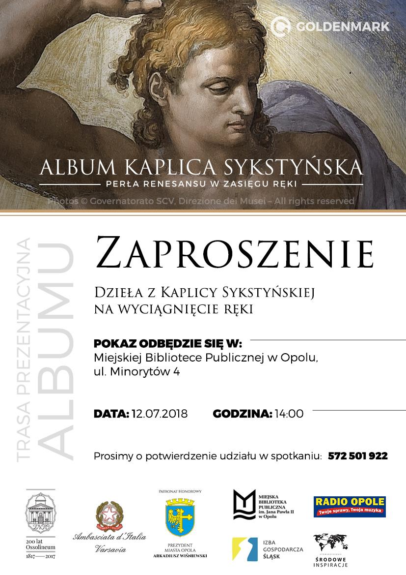 """Projekt """"Kaplica Sykstyńska na wyciągnięcie ręki"""" dotrze także do Opola! [materiały organizatora]"""