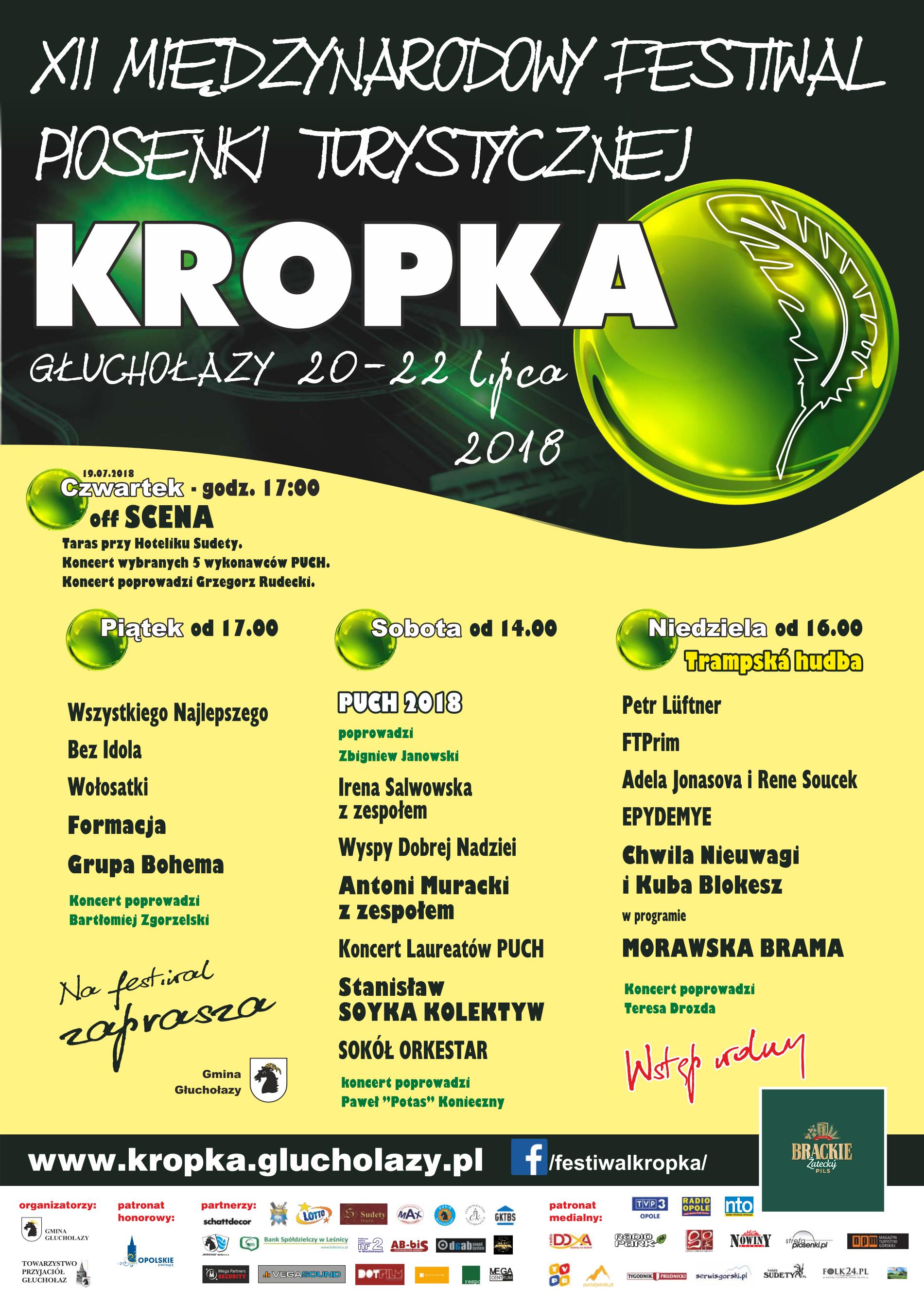 Międzynarodowy Festiwal Piosenki Turystycznej 'Kropka' od czwartku (19.07) do niedzieli (22.07)