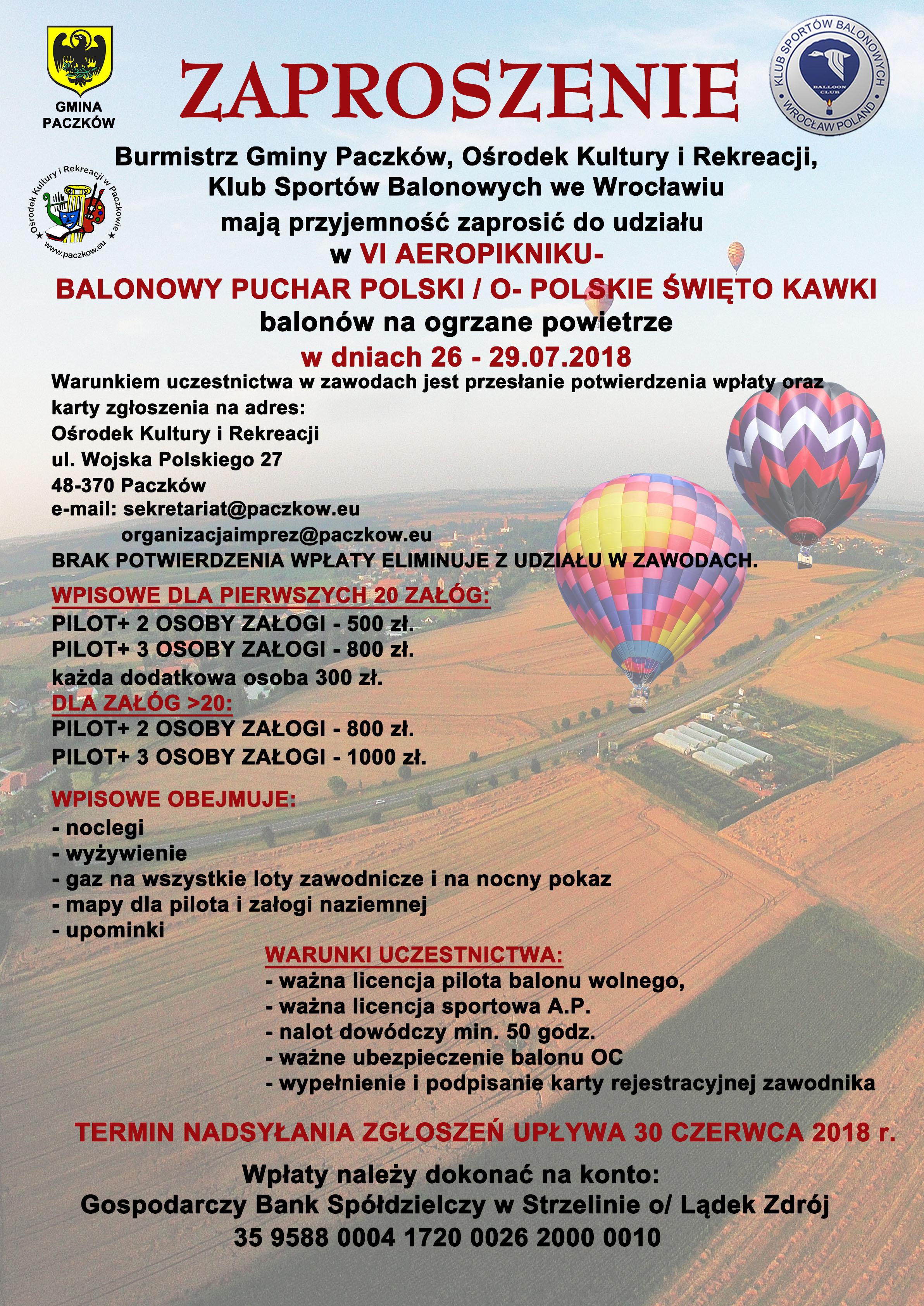 zaproszenie Balonowy Puchar Polski