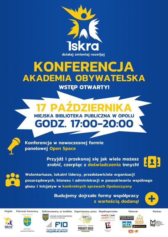 Akademia Obywatelska odbędzie się w środę (17.10) od 17:00 do 20:00 w MBP w Opolu