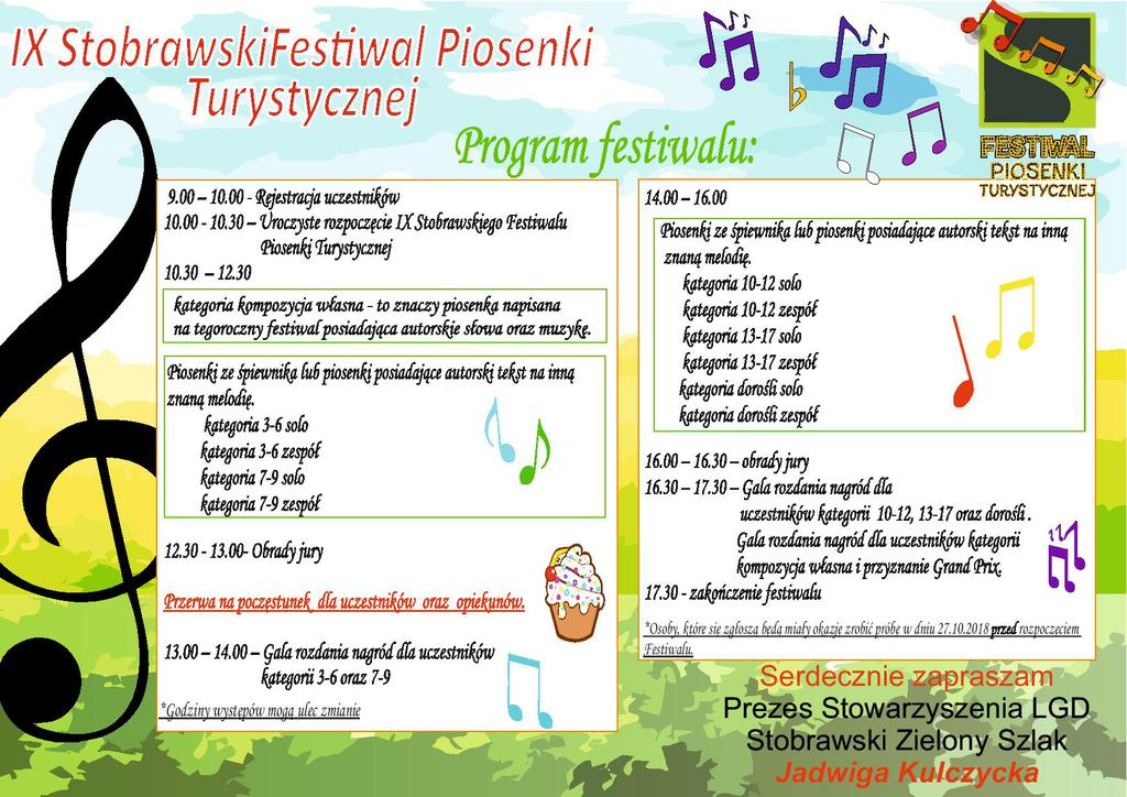 Program IX Stobrawskiego Festiwalu Piosenki Turystycznej [materiały organizatora]