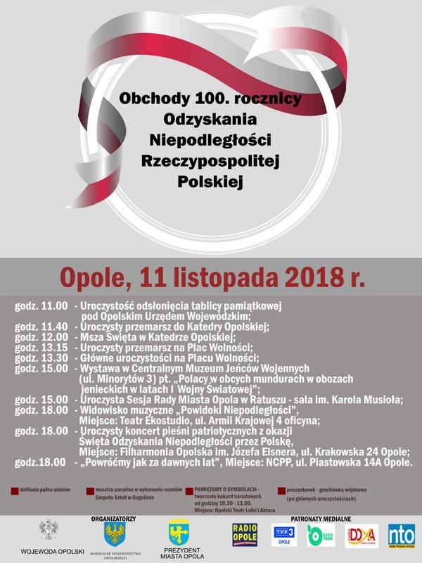 Opole uczci 100. rocznicę odzyskania przez Polskę niepodległości