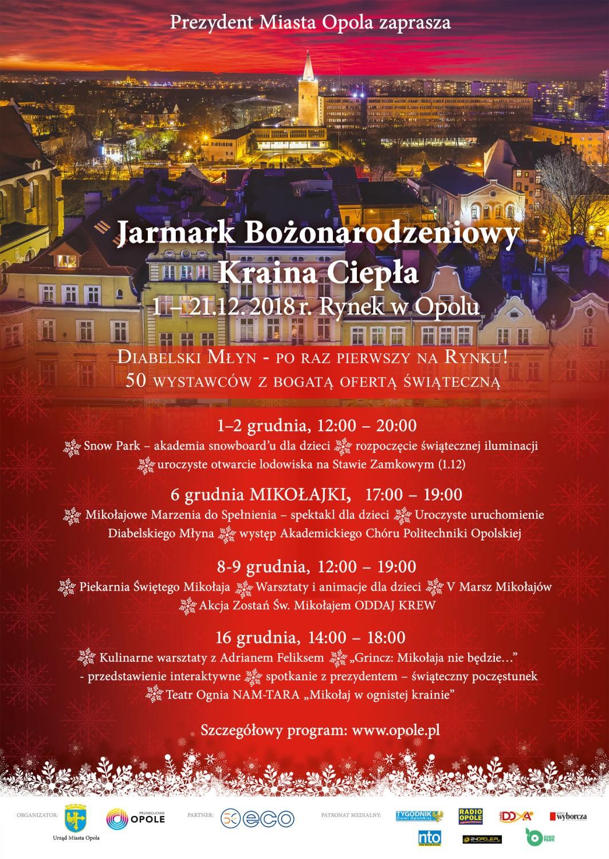 Jarmark Bożonarodzeniowy w Opolu potrwa od 1 do 21 grudnia 2018