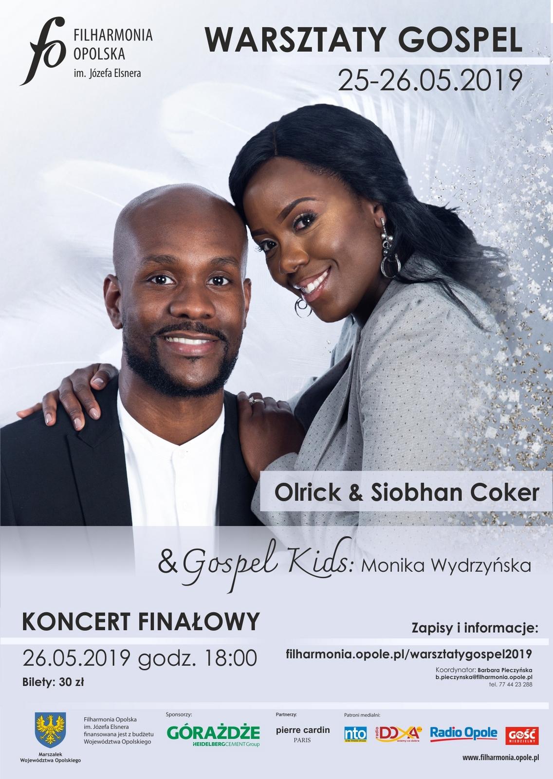 Trwają zapisy na warsztaty gospel, które poprowadzi brytyjski duet Olrick & Siobhan Coker. Szykowane są też warsztaty dla dzieci