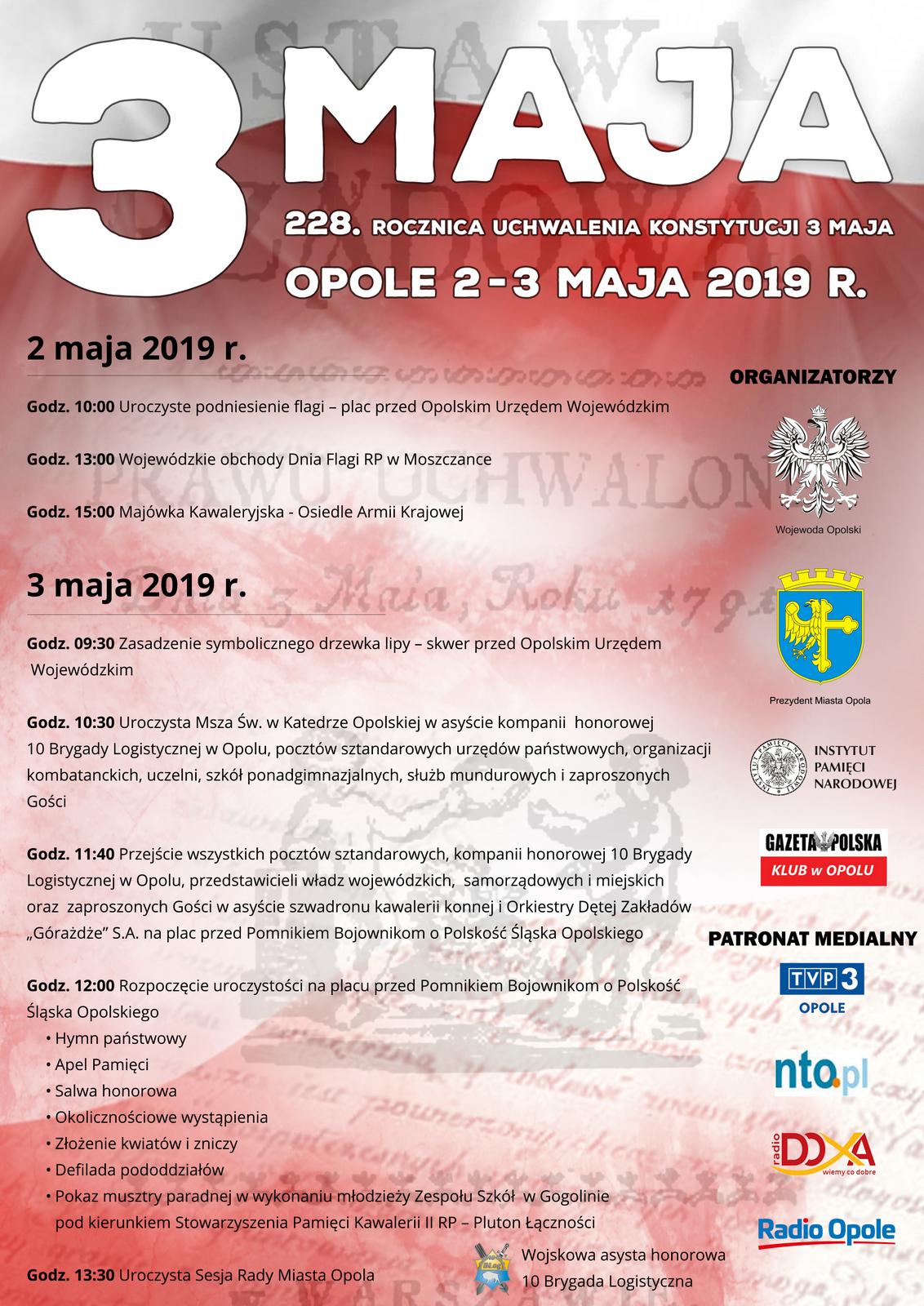 Obchody 228. rocznicy Uchwalenia Konstytucji 3 Maja w Opolu