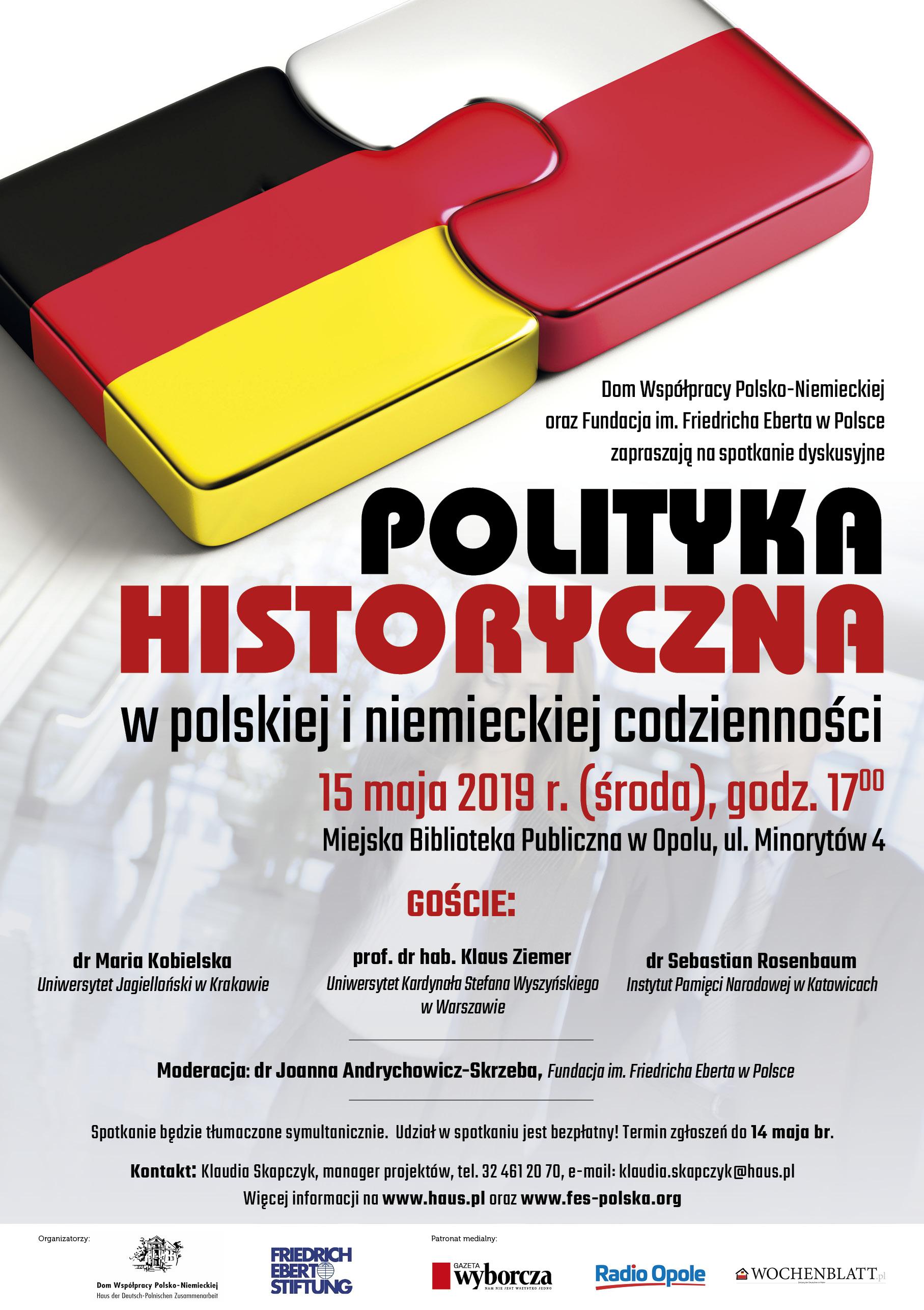 """Spotkanie dyskusyjne """"Polityka historyczna w polskiej i niemieckiej codzienności"""" odbędzie się w środę (15.05) w MBP w Opolu"""