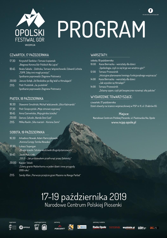 VIII Opolski Festiwal Gór plakat program