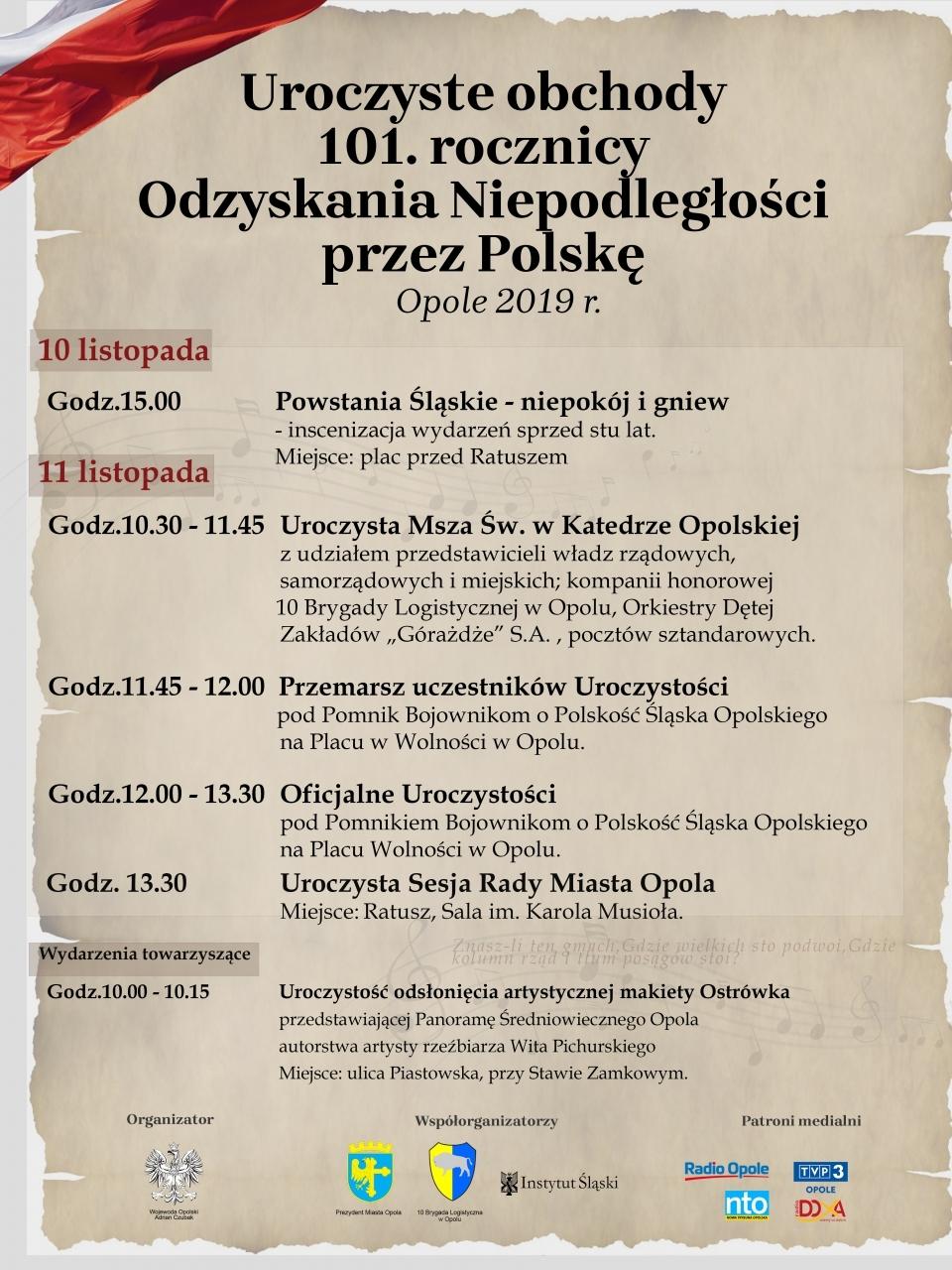 Zbliża się 101. rocznica Odzyskania Niepodległości przez Polskę – poznaj program obchodów w Opolu! [materiały organizatora]