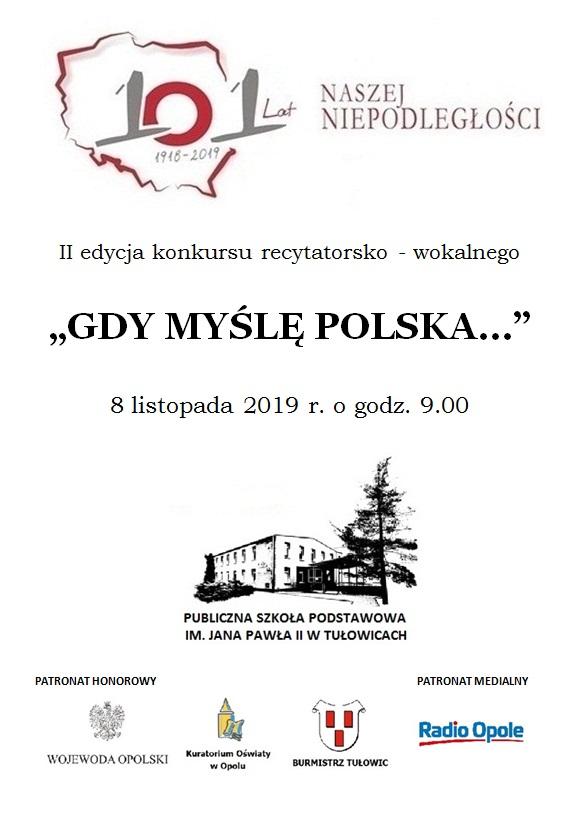 """""""Gdy myślę Polska…"""" – II Konkurs Recytatorsko-Wokalny dla szkół podstawowych już w piątek! [materiały organizatora]"""