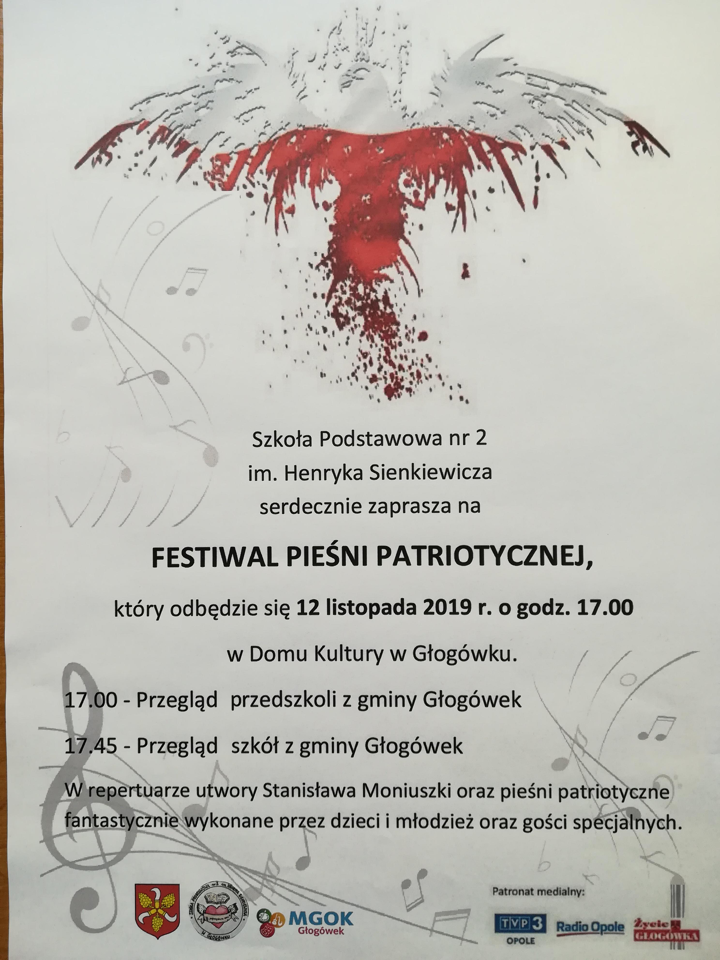 Plakat Gminnego Przeglądu Piosenki i Pieśni Patriotycznej - Głogówek 2019