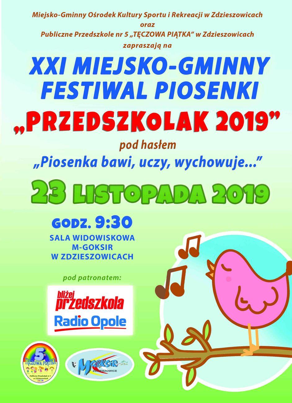 """XXI Miejsko-Gminny Festiwal Piosenki """"Przedszkolak 2019"""" już w sobotę w Zdzieszowicach – poznaj szczegóły! [materiały organizatora]"""