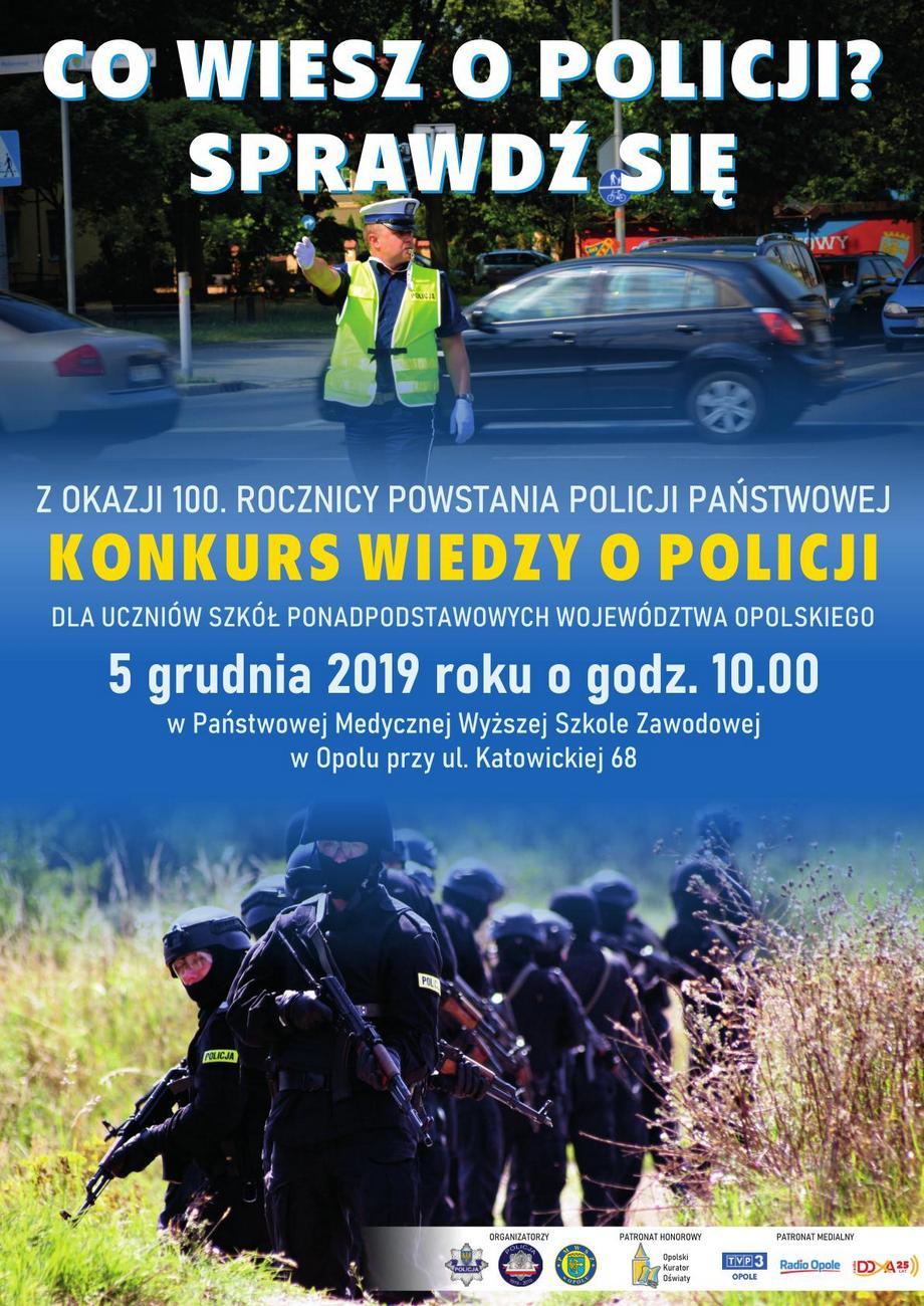Konkurs wiedzy o Policji z okazji 100. rocznicy powołania Policji Państwowej już w czwartek – poznaj szczegóły! [materiały organizatora]