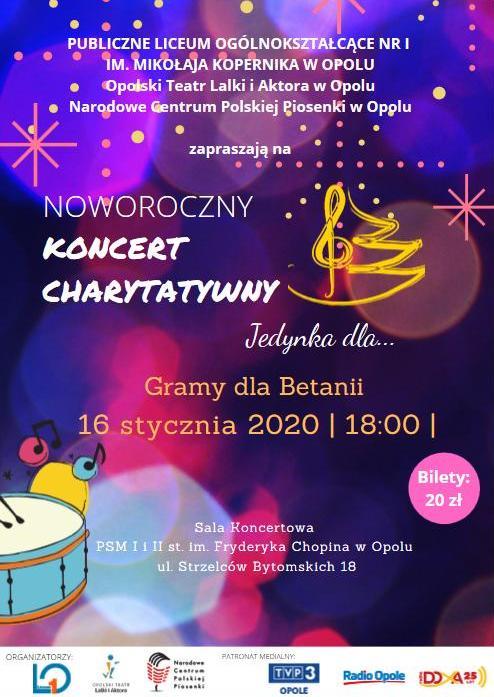 """Noworoczny Koncert Charytatywny """"Jedynka dla Betanii"""" już w czwartek – wciąż można kupić bilety! [materiały organizatora]"""