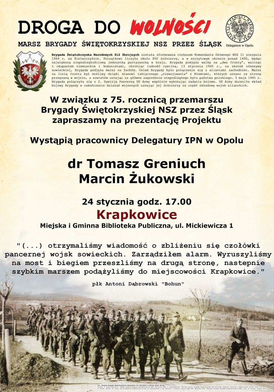 """Prezentacja projektu """"Droga do Wolności"""" już w piątek w Krapkowicach – poznaj szczegóły! [materiały organizatora]"""