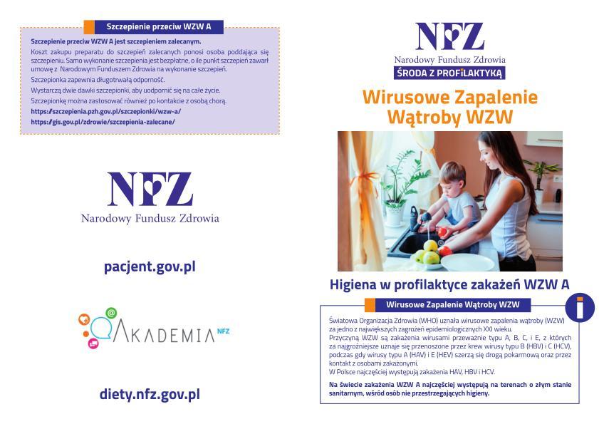 """""""Wirusowe zapalenie wątroby WZW"""" tematem 'Środy z profilaktyką' – akcji NFZ [materiały organizacyjne]"""