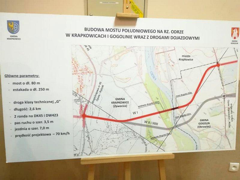 Planowany przebieg tzw. mostu południowego wraz z drogami dojazdowymi [fot. www.facebook.com/Gmina Krapkowice]