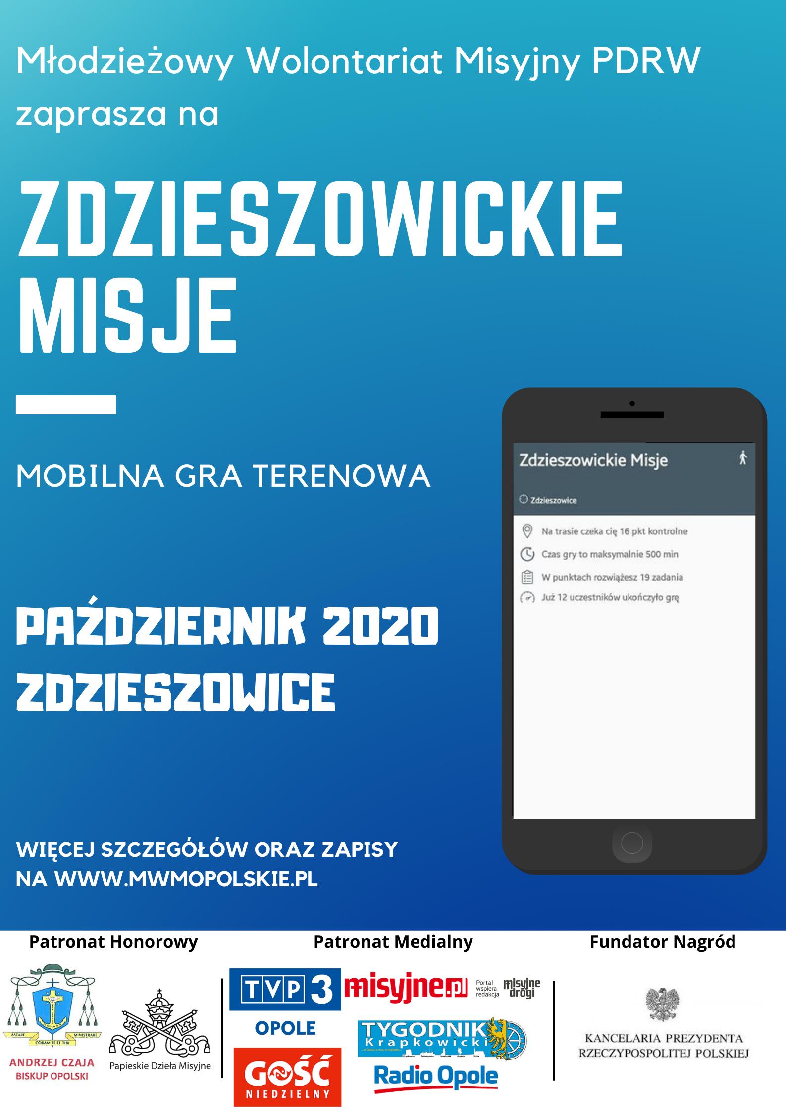 """Edukacyjna gra terenowa pod nazwą 'Zdzieszowickie Misje"""". Plakat"""