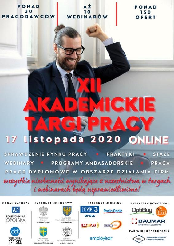 Plakat. Targi pracy Politechniki Opolskiej on-line 17 listopada