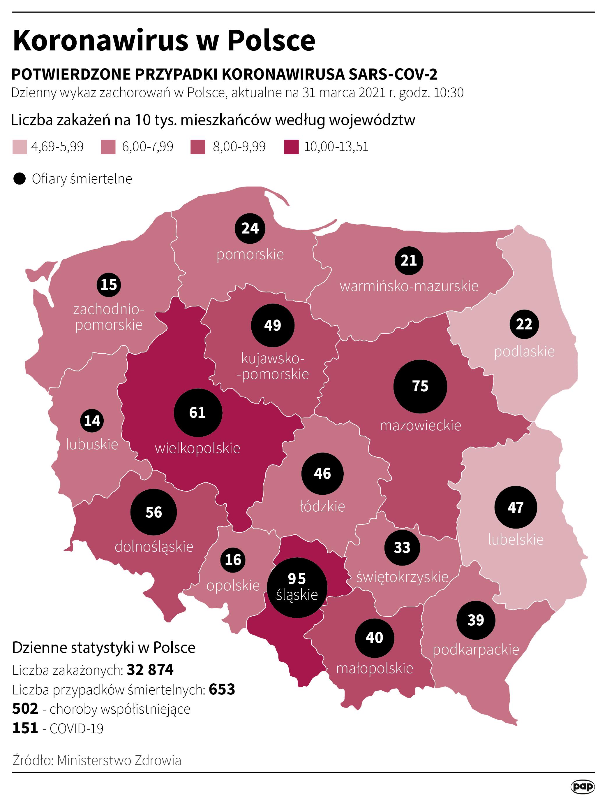Koronawirus w Polsce - stan na 31 marca [Autor: Maciej Zieliński, źródło: PAP]