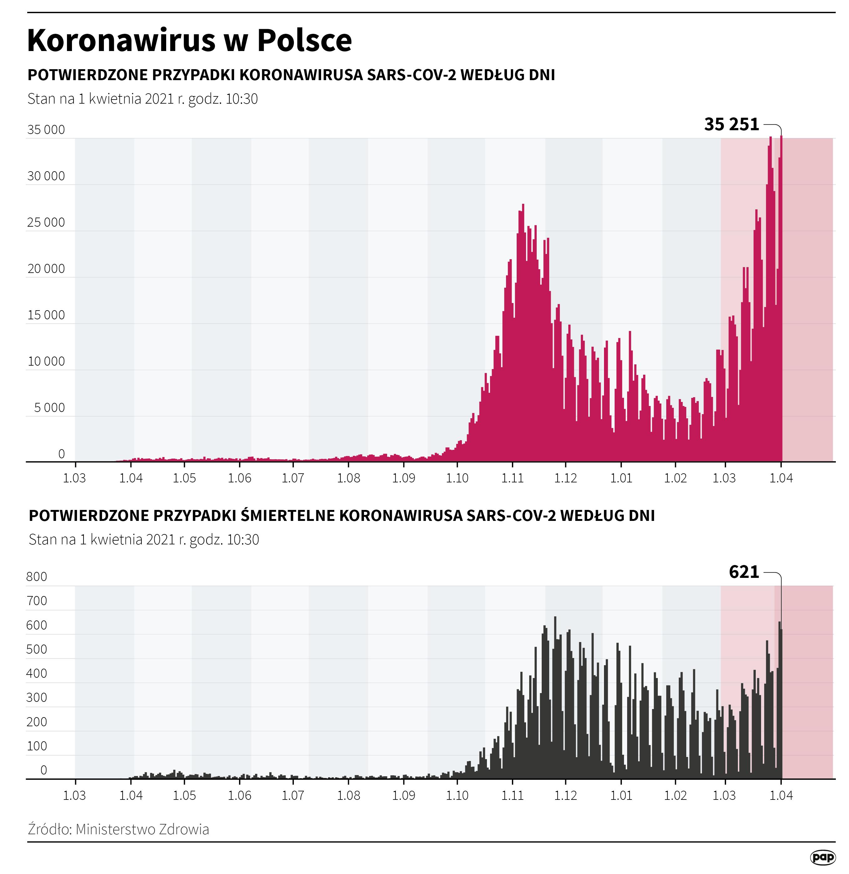Koronawirus w Polsce - stan na 1 kwietnia [fot. Maciej Zieliński/PAP]