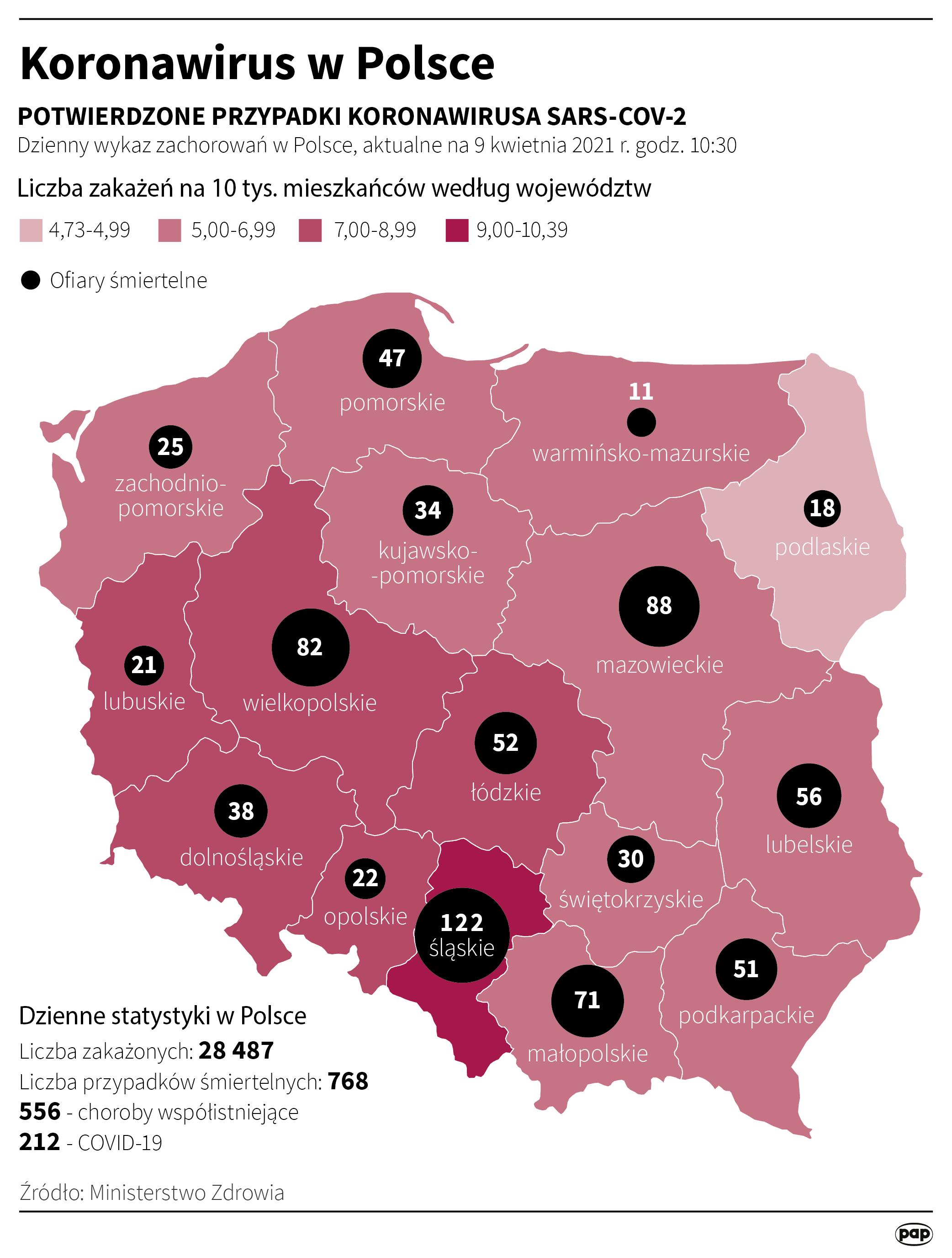 Koronawirus w Polsce - stan na 9 kwietnia [Autor: Maciej Zieliński, źródło: PAP]