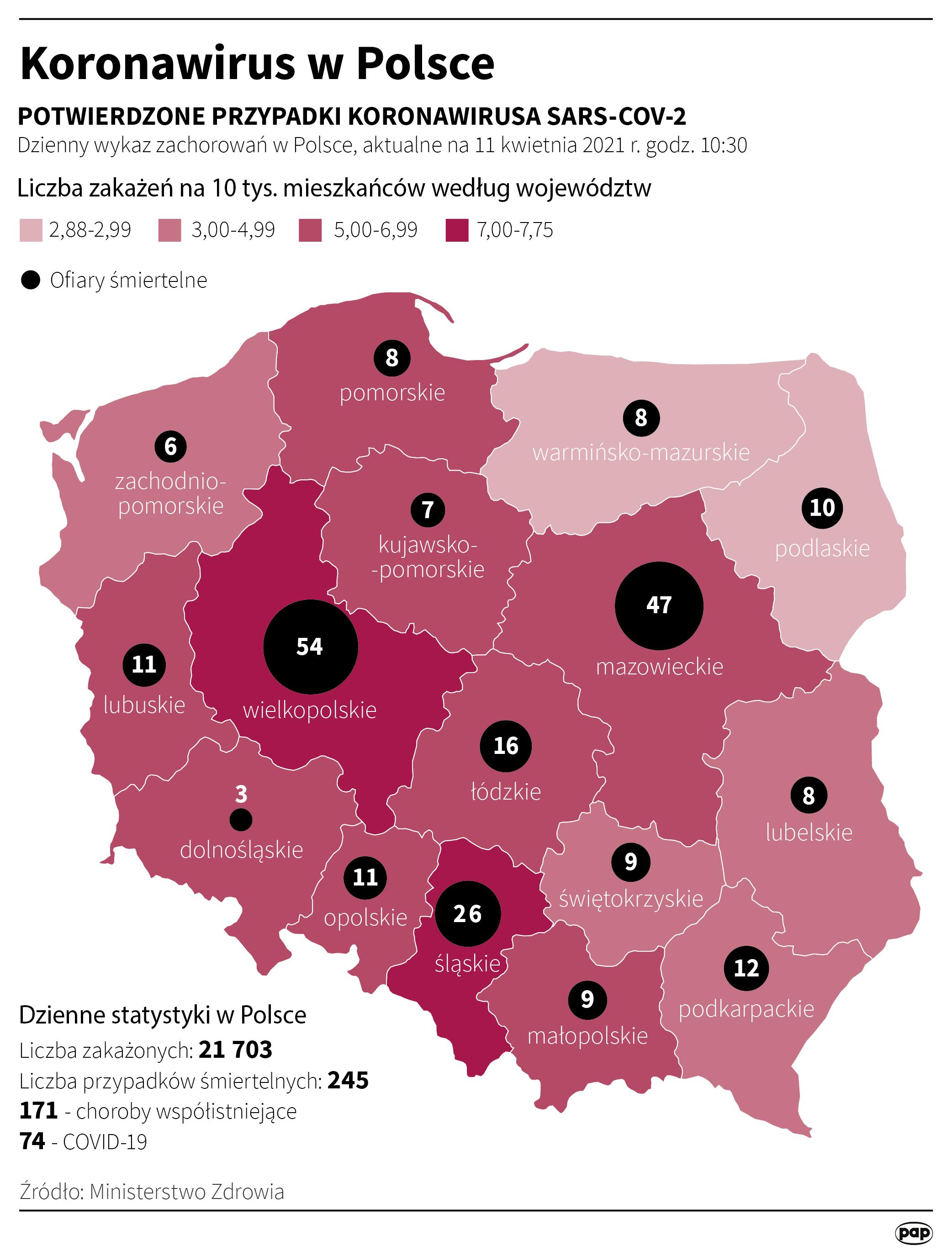 Koronawirus w Polsce - stan na 11 kwietnia [Autor: Maciej Zieliński, źródło: PAP]