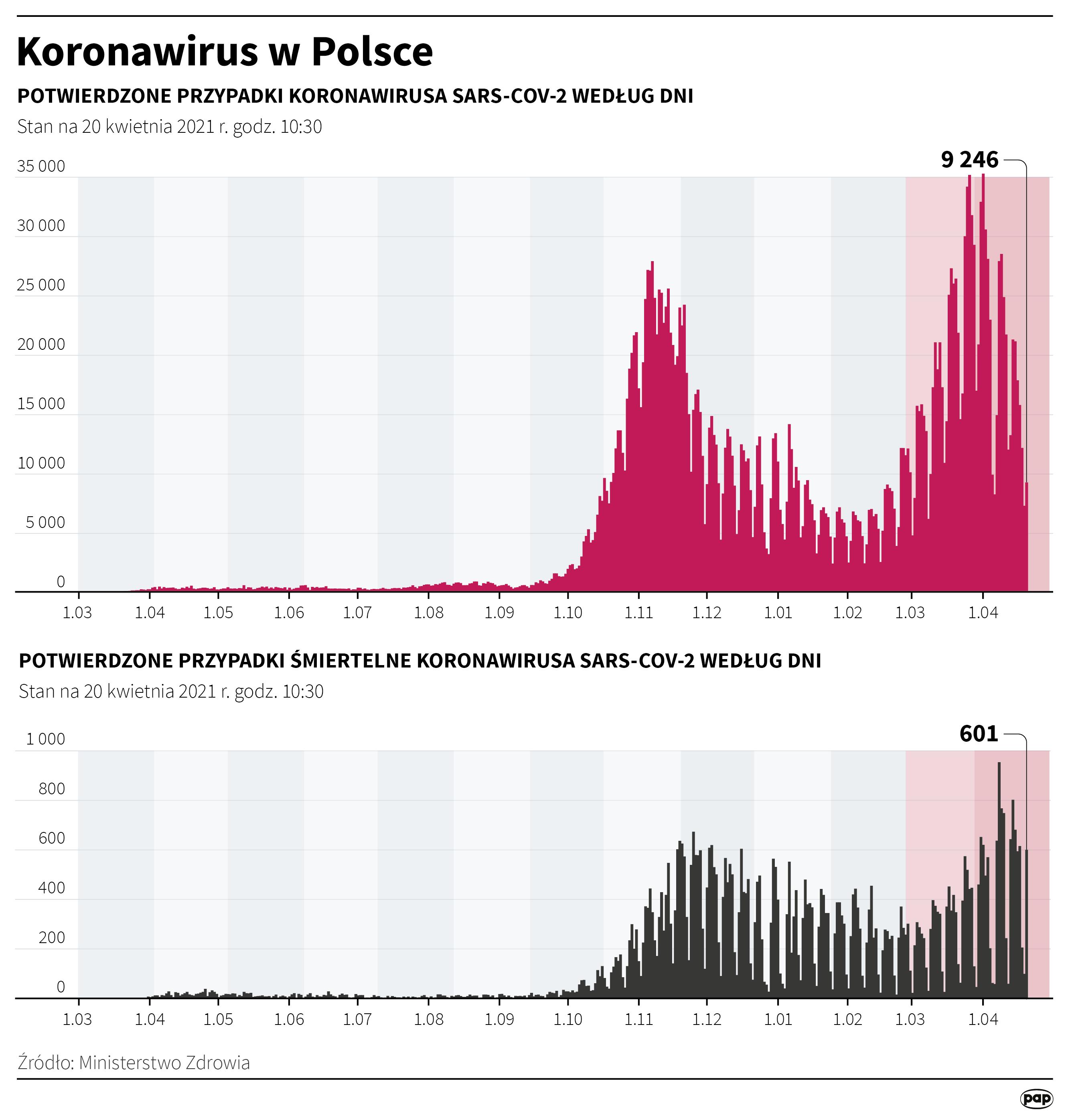 Koronawirus w Polsce - stan na 20 kwietnia [Autor: Maciej Zieliński, źródło: PAP]