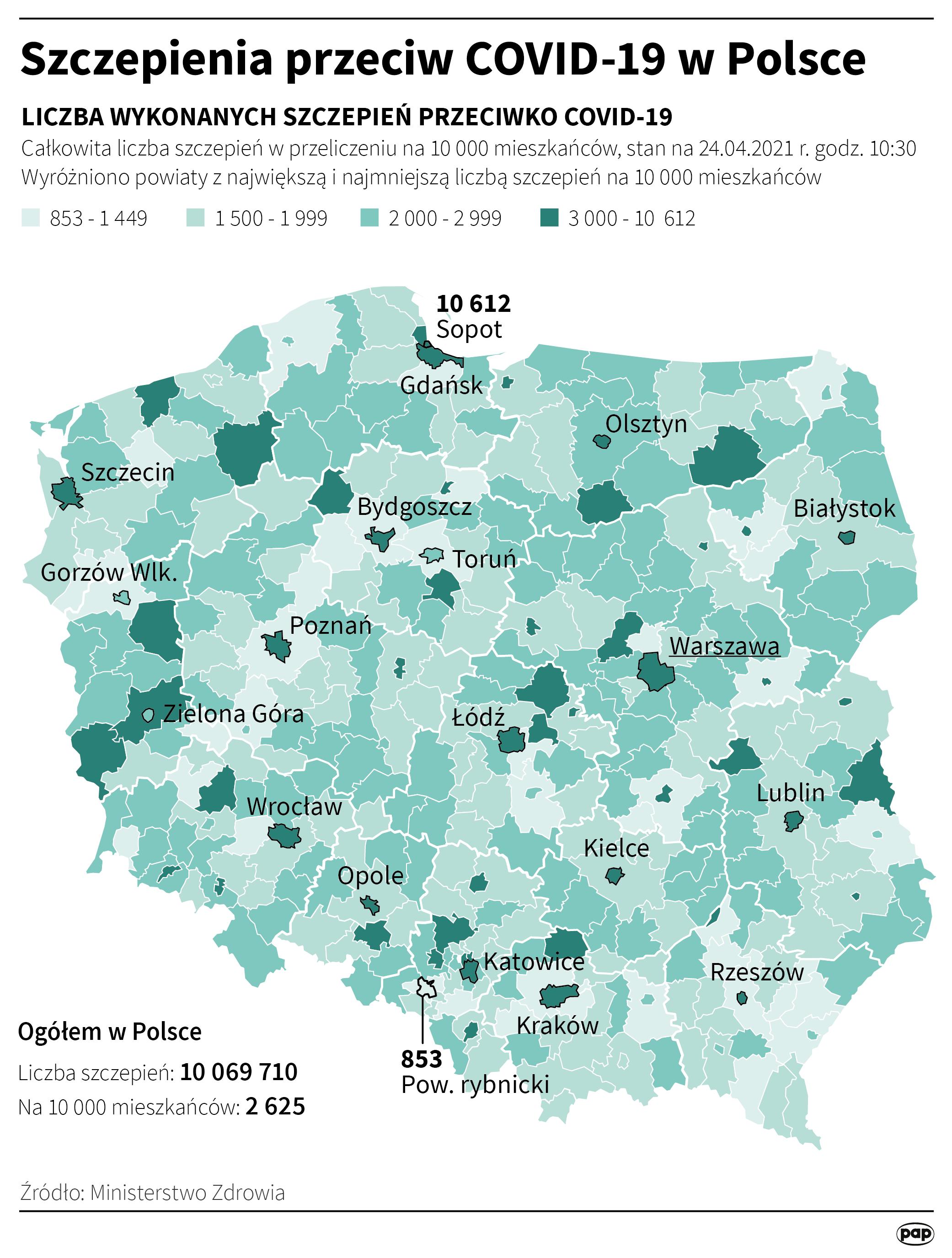 Szczepienia przeciw COVID-19 w Polsce - 24 kwietnia [rys. Maciej Zieliński / PAP]